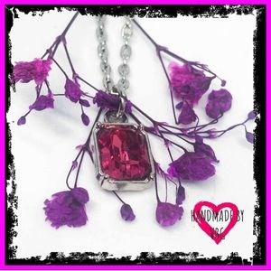 🆕 Sterling Silver Petite Pink Sapphire Necklace